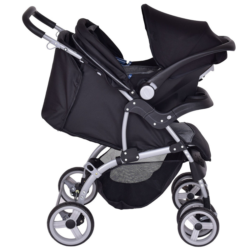 Gymax 3 in 1 Foldable Steel Travel System Baby Stroller PRAM by Gymax