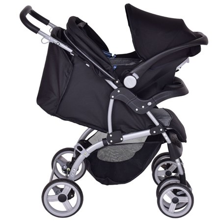 Gymax 3 in 1 Foldable Steel Travel System Baby Stroller (Silver Cross 3 In 1 Travel System)