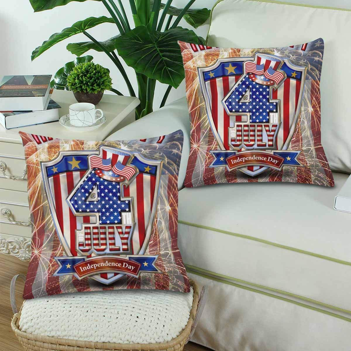 GCKG Happy 4th of July Fireworks Stars Stripe Flag Pillowcase Throw Pillow Covers 18x18 inches Set of 2 - image 1 of 3