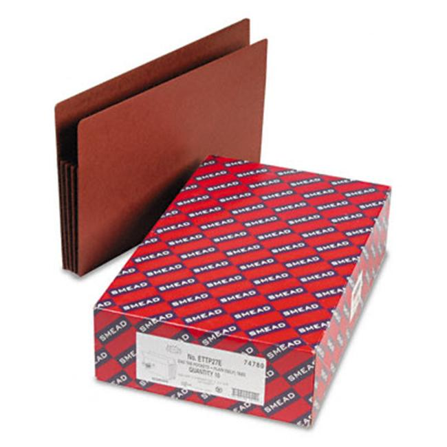 Smead 74780 Tuff Pocket 3 1/2   Expansion File Pockets  Straight  Legal  Redrope  10/Box