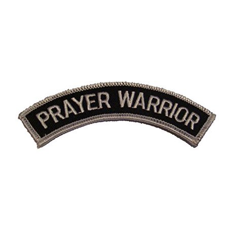 - RELIGIOUS PRAYER WARRIOR ROCKER CHRISTIAN PATCH - Black and White - Veteran Owned Business