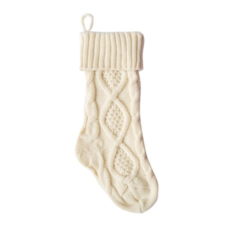 Knitted stocking, Knitted Christmas Stockings Decoration Christmas Gift Bag Fireplace Decoration, White