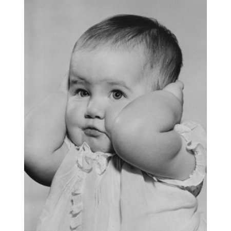 Baby girl covering ears with hands Canvas Art - (18 x 24)