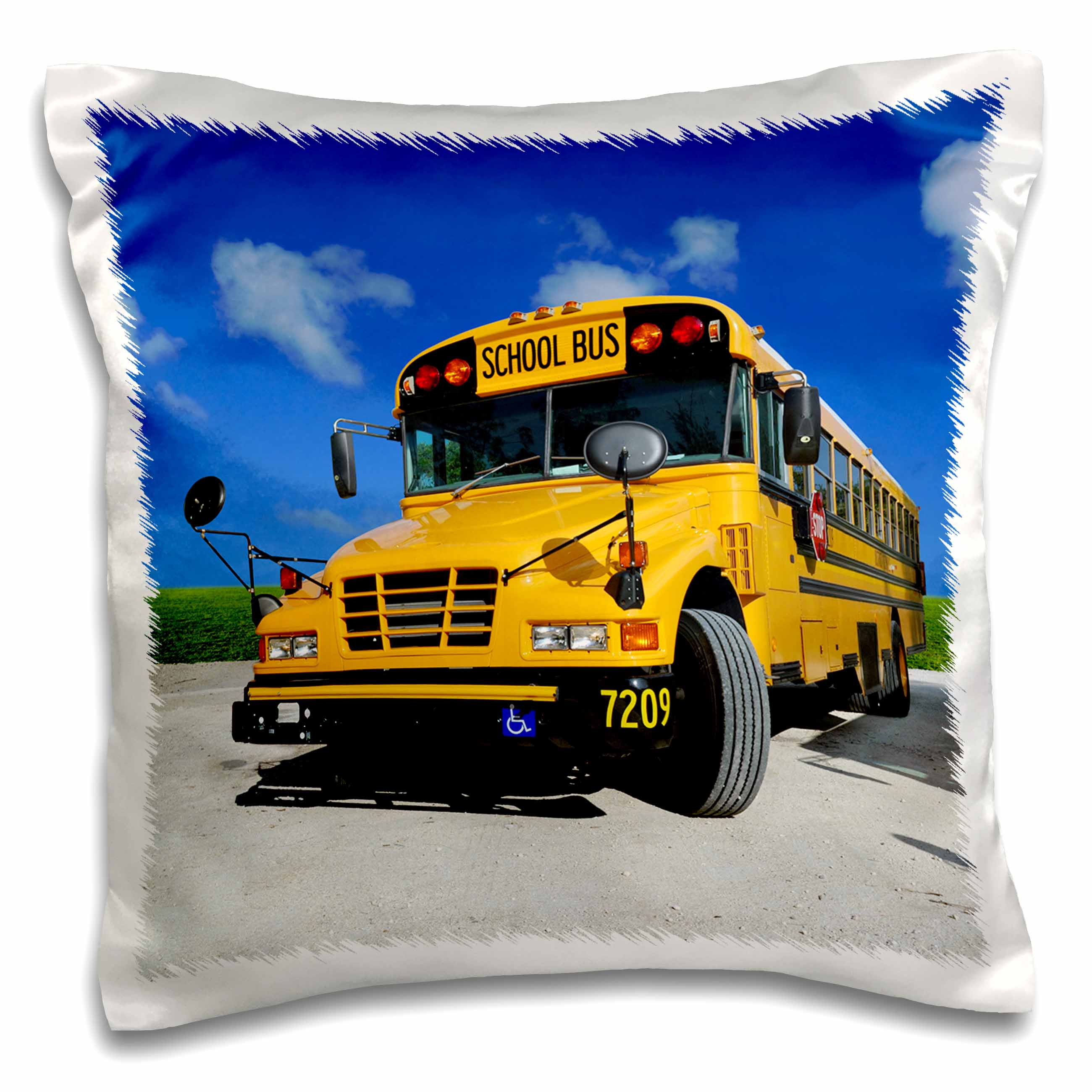 3dRose Yellow school bus on a sunny day, Pillow Case, 16 by 16-inch
