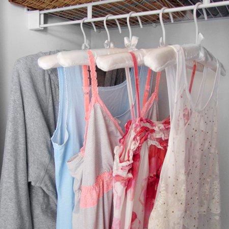 Evelots Padded Satin Hangers, Dresses, Lingerie, Bridal Wear, Ivory, Set Of 10