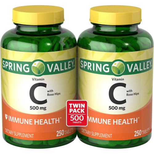 Spring Valley Vitamin C Tablets, 500 mg, 250 count, 2 pk