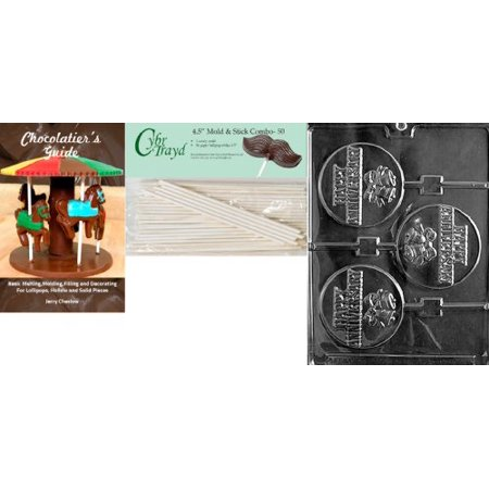 Cybrtrayd 'Happy Anniversary Pop' Wedding Chocolate Candy Mold with 50 4.5-Inch Lollipop Sticks and Chocolatier's Guide