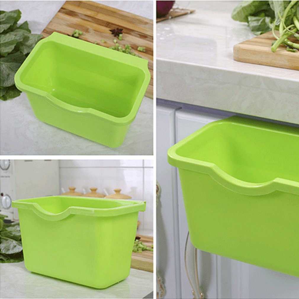 Kitchen Storage Cabinet Door Plastic Garbage Multifunctional Desk Garbage Storage Box Trash Box Hanging Type