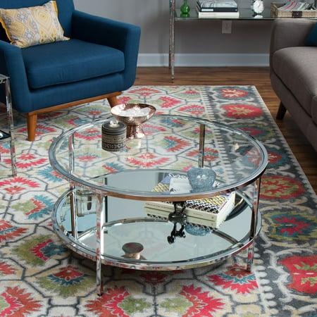 Belham Living Lamont Round Coffee Table - Chrome Chrome Round Coffee Table