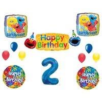 SESAME STREET 2nd Banner Happy Birthday Party Balloons Decoration Supplies Elmo Cookie Monster