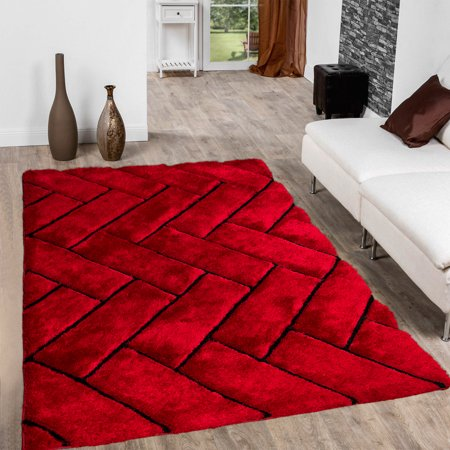 Allstar Red Shaggy Area Rug with 3D Design with Black Lines. Contemporary Formal Casual Hand Tufted (5' x (Casual Elegance Collection Rugs)