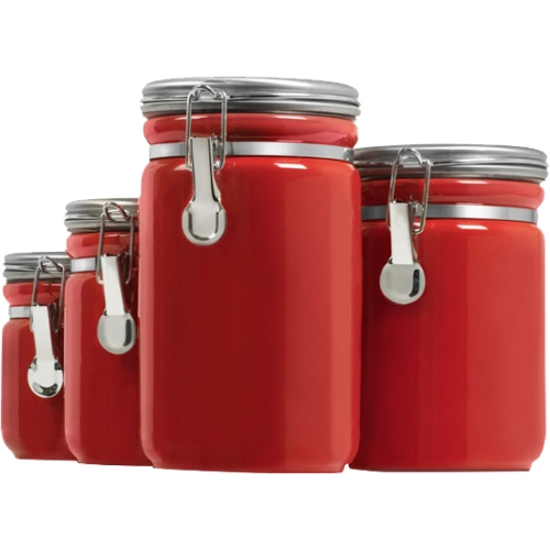 Anchor Hocking 4 Piece Ceramic Canister Set, Red