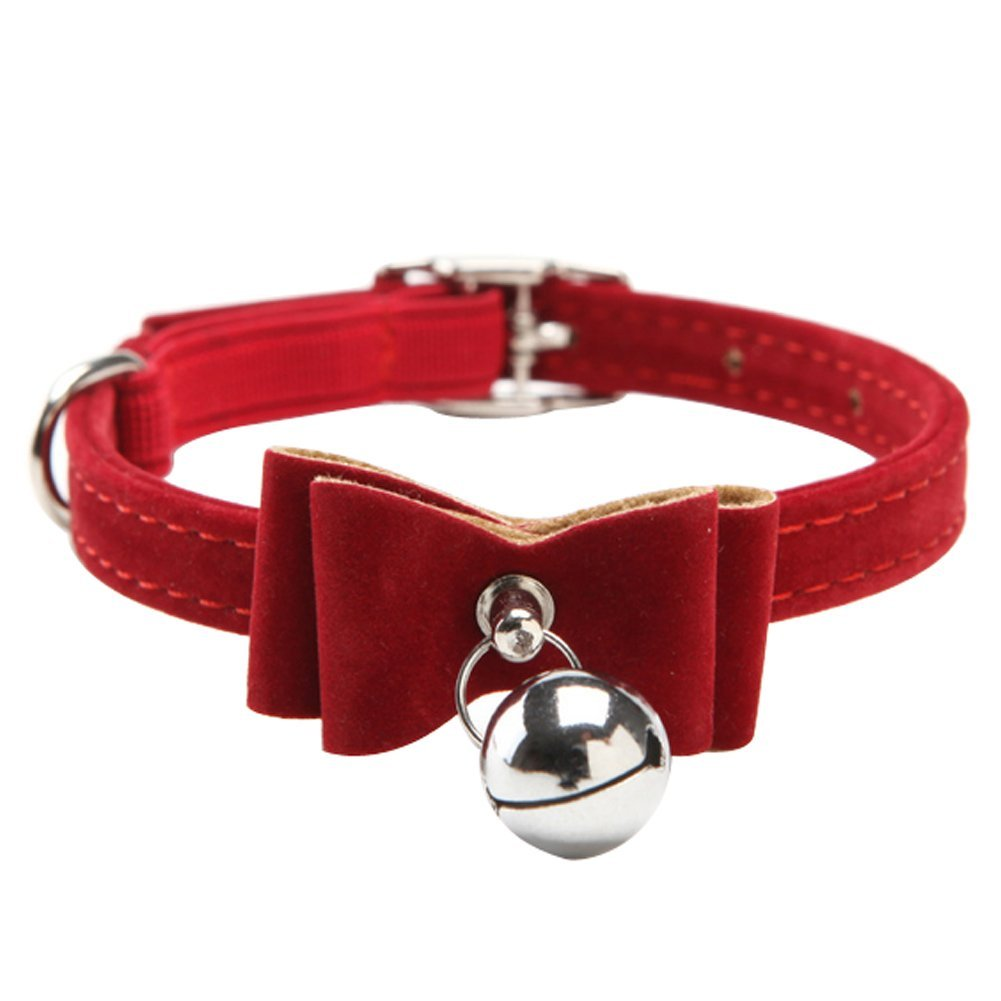 Velvet Breakaway Adjustable Bowtie Dog and Cat Collar With Bell, Red