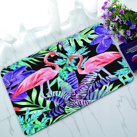 PHFZK Watercolor Doormat, Tropical Beach Flamingo Bird and Exotic Plants Doormat Outdoors/Indoor Doormat Home Floor Mats Rugs Size 30x18 inches