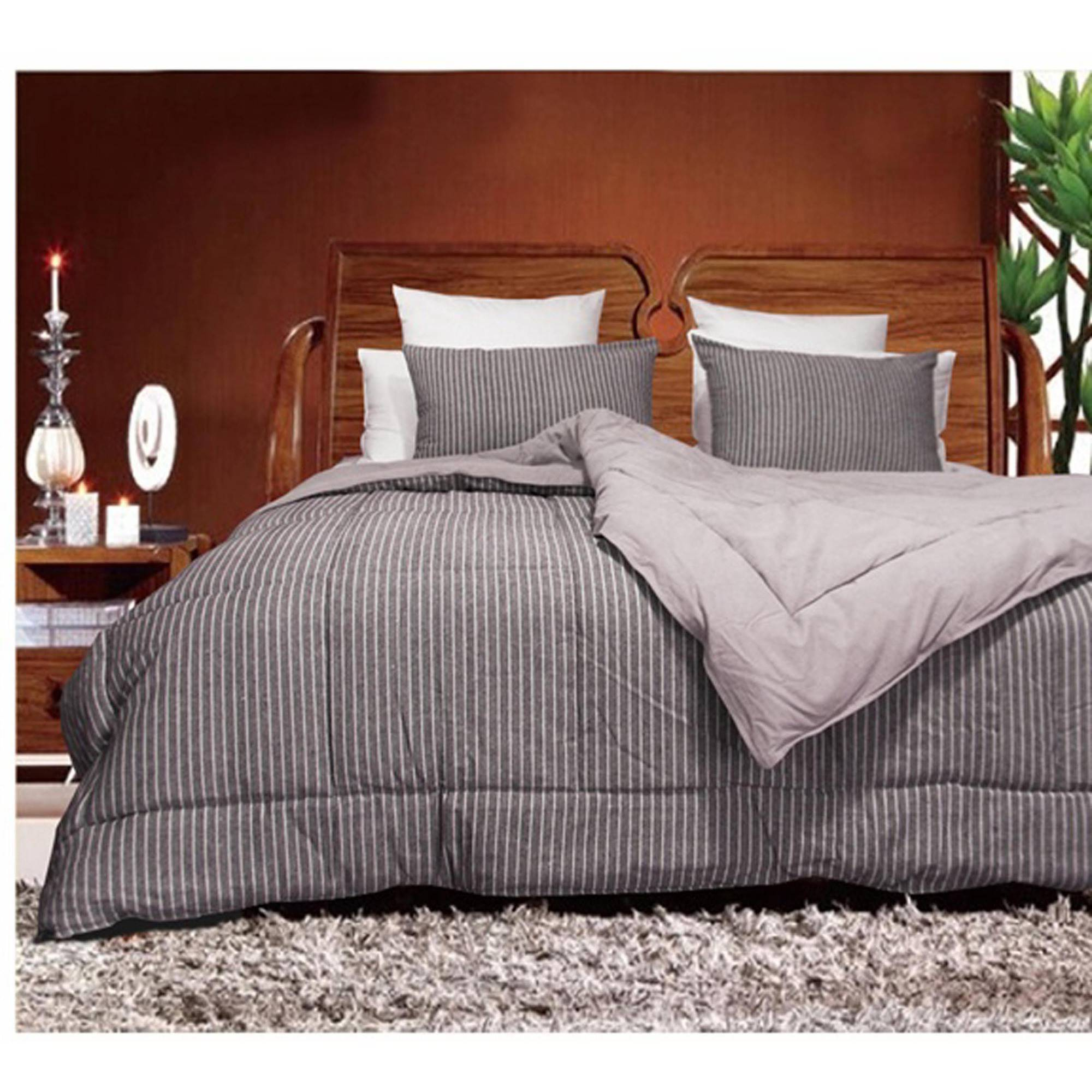 Luxury Natural Linen/Cotton Blended Washable Woven Stripe Comforter Mini Set