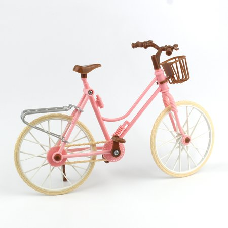 Pink Bicycle Play House Toy Detachable Bike + Basket + Brown Helmet Kids Toys for Dolls Accessories Color:Pink Height:Long 25CMX high 17CM - image 4 de 6