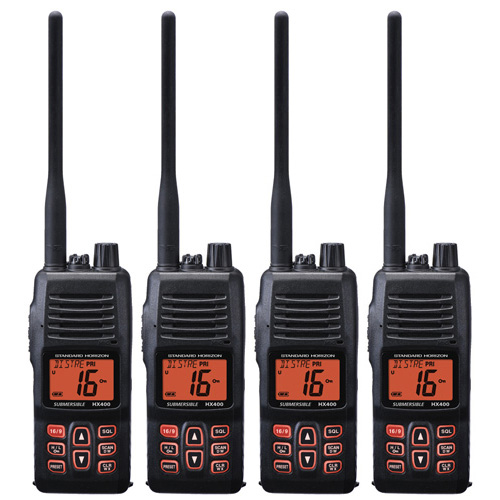 Standard Horizon HX400IS Handheld VHF 40 Channels DSC Noise Canceling Mic IPX8 WaterRating (4 Pack)