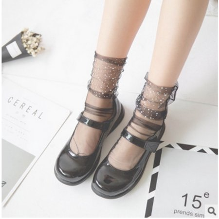 Women Girls Transparent Glitter Crystal Silk Lace Elastic Short Ankle Socks Wedge Ankle Lace