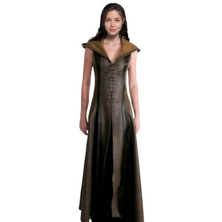 Fancyleo Women Cosplay Costume Sexy Slim Lace Up Leather Medieval Ranger Dress Long Dress