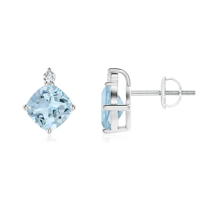 Angara Cushion Aquamarine Drop Earrings with Diamond Accents in Rose Gold