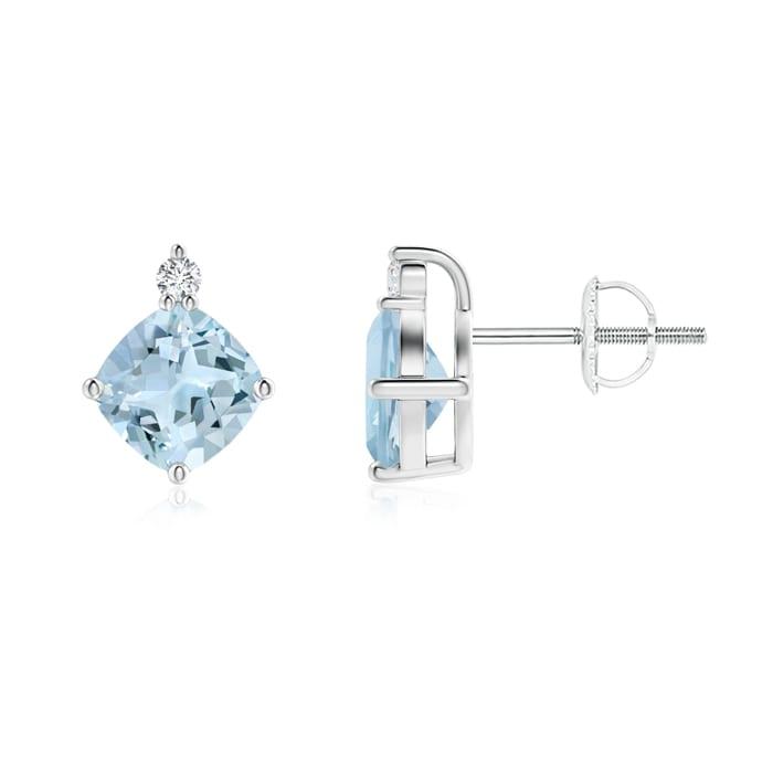 Angara Cushion Aquamarine Drop Earrings with Diamond Accents in Rose Gold bMO25Da1Hq