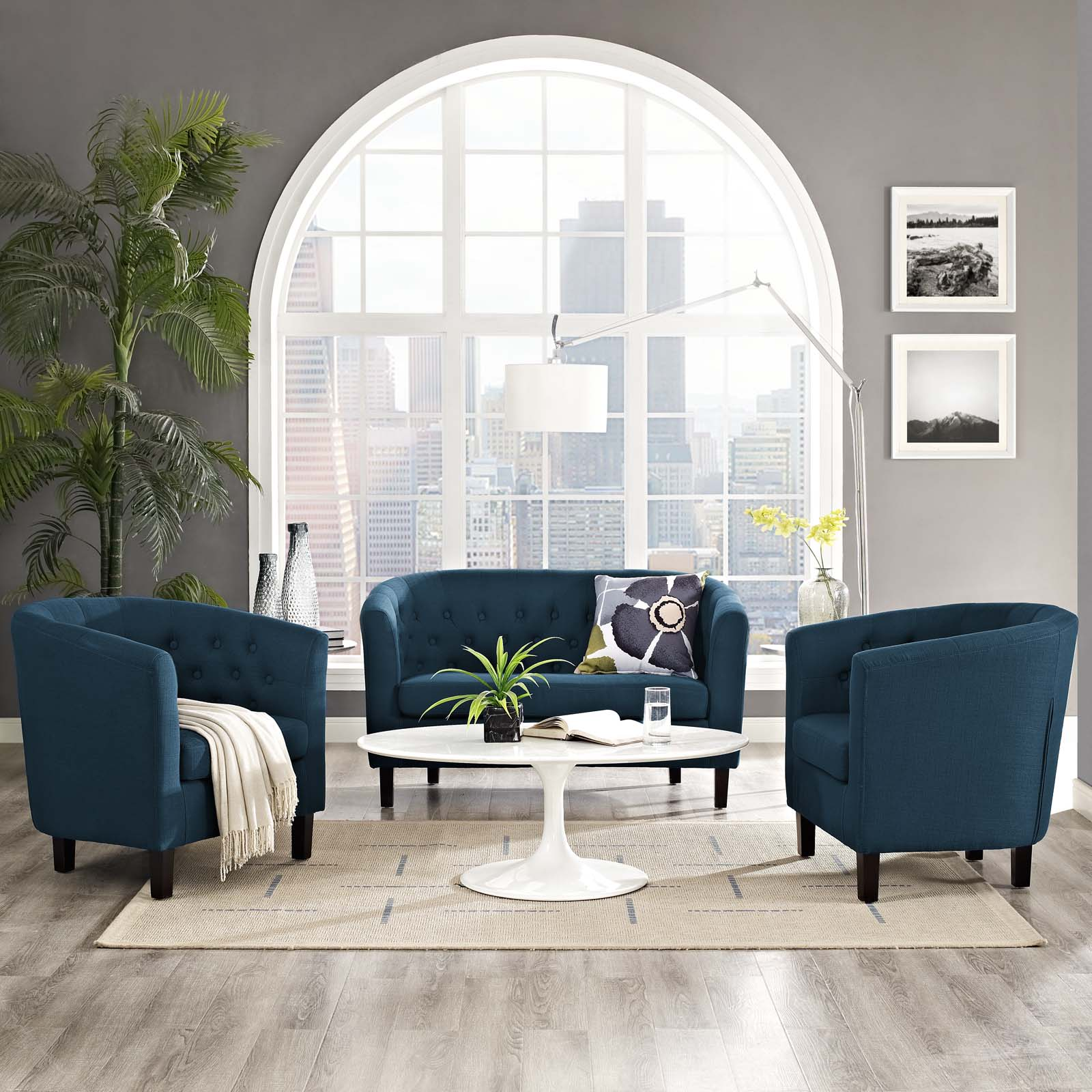 Modway Prospect 3 Piece Upholstered Fabric Loveseat and Armchair Set, Multiple Colors