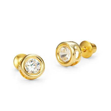 14k Gold Plated Brass 5mm Round Bezel Cubic Zirconia Screwback Baby Girls Earrings