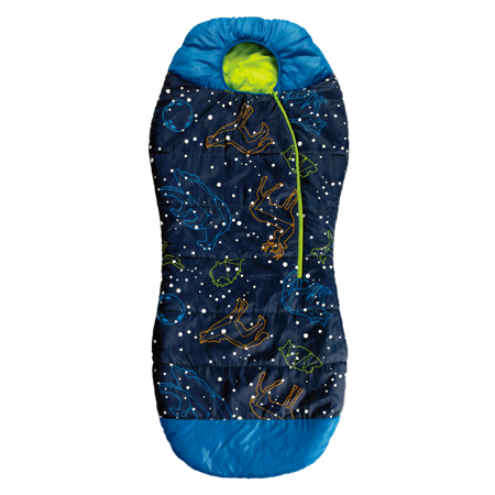 AceCamp Kids Glow-in-The-Dark Sleeping Bag with Compression Sack Blue Mummy Style 30F/ -1C Head Bundle Bottom Seal Enclosed Pocket for Boys