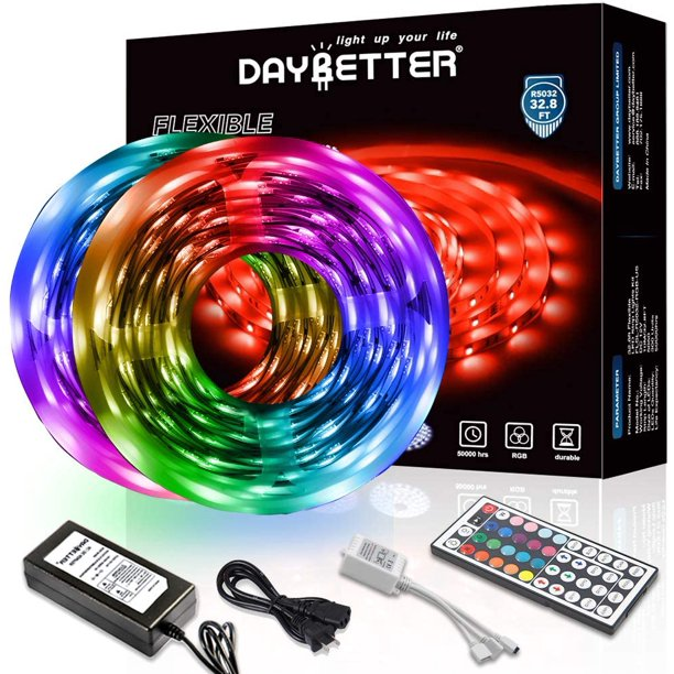 Daybetter Led Strip Lights 32 8ft 10m With 44 Keys Ir Remote And 12v Power Supply Flexible Color Changing 5050 Rgb 300 Leds Light Strips Kit For Home Bedroom Kitchen Diy Decoration Walmart Com