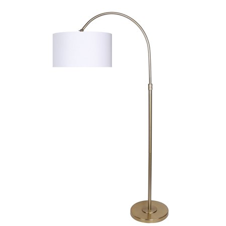 "Grandview Gallery 63.5"" Modern Gold Plated Arc Floor Lamp with Round Tiered Base and Off-White Linen Hanging Drum Shade - Lighting for Behind the Couch, Free Standing, Reading, the Bedroom or Office"