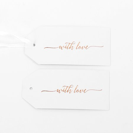 Koyal Wholesale Gift Tag For You With Love Rose Gold Foil Favor Tags, in Bulk 100-Pack with Gift Tag Ribbon