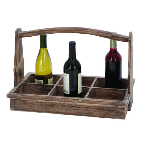 Decmode Wood Wine Tray, Multi Color