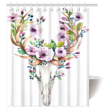 MYPOP Deer Skulls Decor Shower Curtain, Animal Skull with Floral Horns Nature Inspired Dead and Living Art Print Fabric Bathroom Shower Curtain, 60 X 72 Inches Designer Inspired Animal