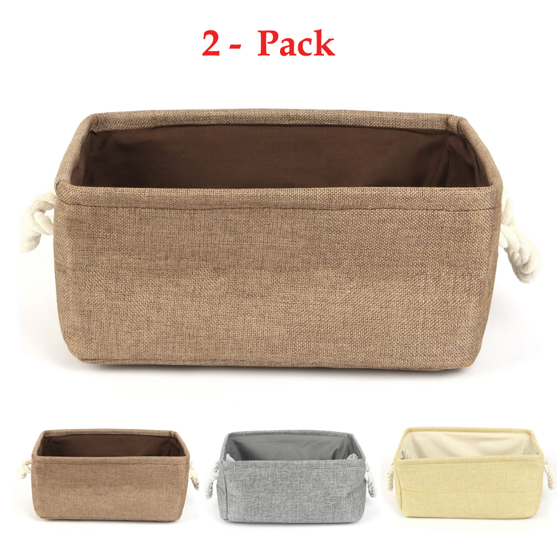 Home Fabric Collapsible Storage Baskets Bin Toy Organizer ,2Pack