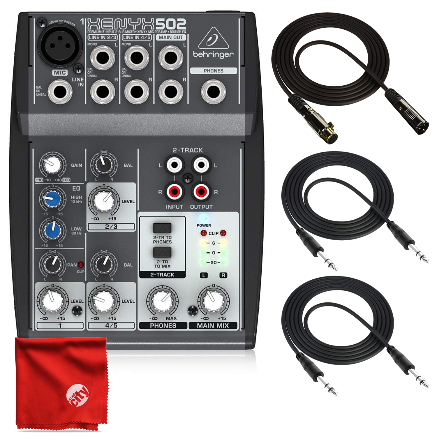 Behringer Xenyx 502 Premium 5-Input 2-Bus Mixer Bundle with Deluxe 10' XLR and 2X 10' TRS and Cables