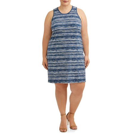 Cherokee Women's Plus Size Sleeveless Knit T-Shirt Dress with Keyhole