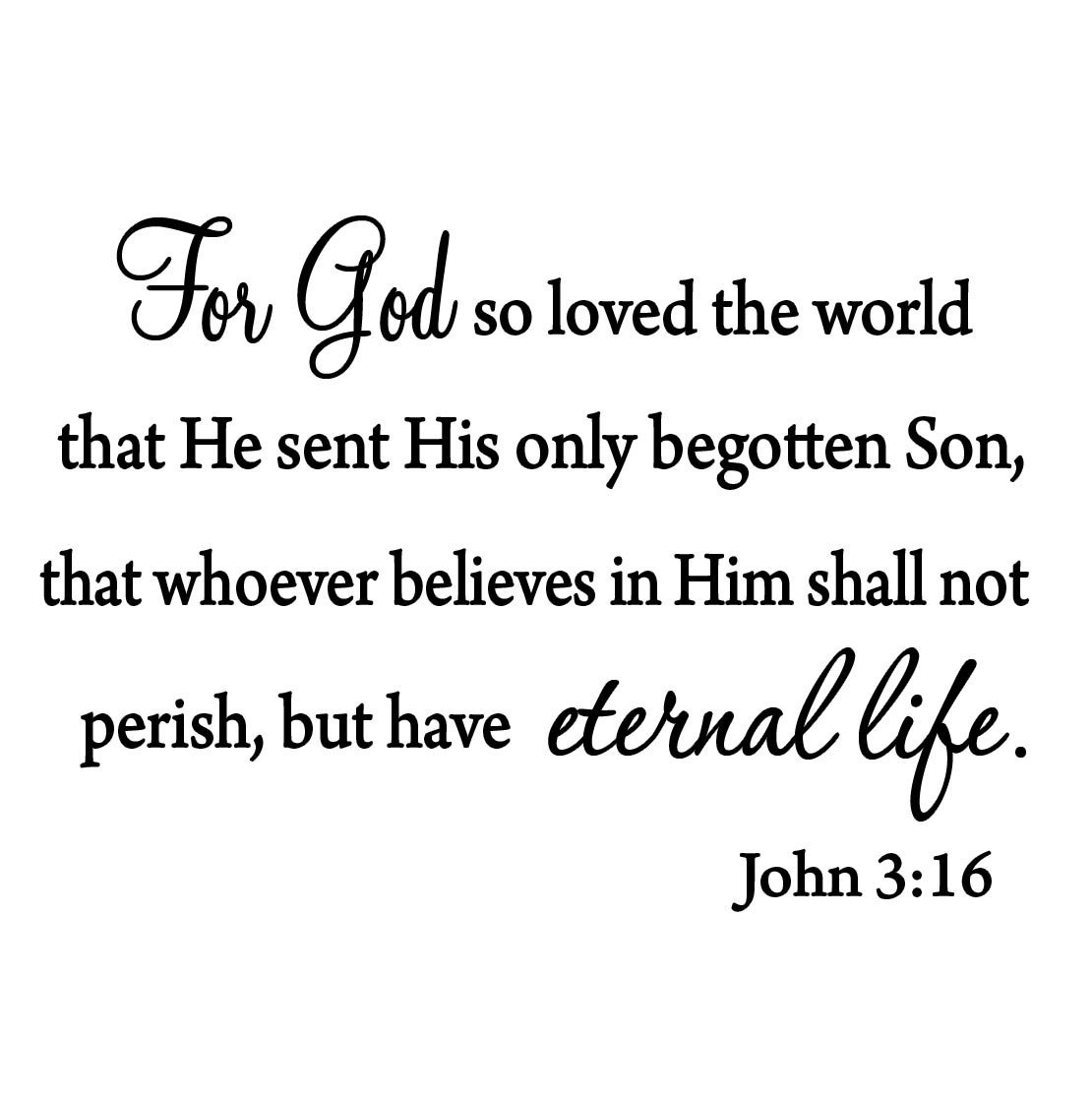 VWAQ For God So Loved The World Wall Decal Quote Religious Bible Verse John 3:16 Scripture Christian Wall Art Sticker by VWAQ