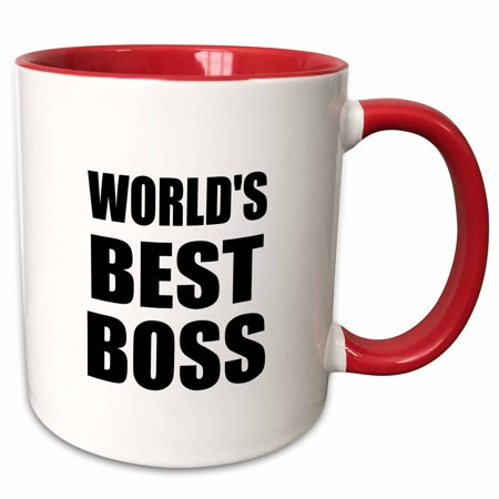 3dRose Worlds Best Boss in black - great text design for the greatest boss - Two Tone Red Mug, (Best The Boss 2)