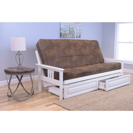 Somette Beli Mont Futon With Antique White Frame Palomino Mattress And Storage Drawers