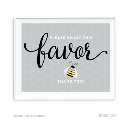 Please Enjoy This Favor, Thank You Mama to Bee Bumblebee Gender Neutral Baby Shower Party Signs