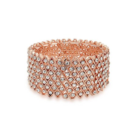 Pink Rose Elastic Bracelet - Fashion Wide Pink Rose Gold Plated White Crystal Encrusted Statement Stretch Bracelet For Women For Prom
