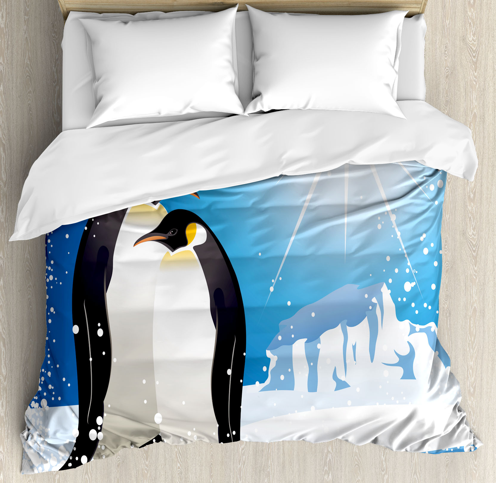 Winter Queen Size Duvet Cover Set, Cute Penguins on Iceland at Arctic Snowy Frozen Climate... by Kozmos