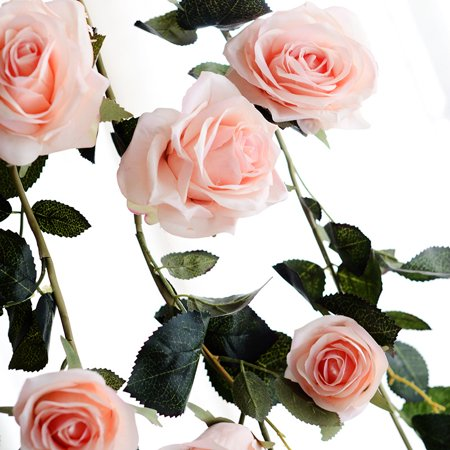 6 Feet Hand-made Artificial Silk Rose Vines Decorative Fake Rose Flower for Home Wall Garden Wedding Party Decor Color:Pink