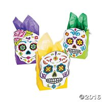 """Day of the Dead Party Favor Gift Bags - 12 ct, Size: 4 3/4"""" x 2 3/4"""" x 6 1/2"""" By Party Supplies"""