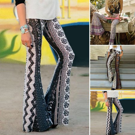 The Noble Collection Women's Boho Hippie High Waist Printed Wide Leg Long Flared Bell Bottom Pants (Bell Bottom Pants For Guys)