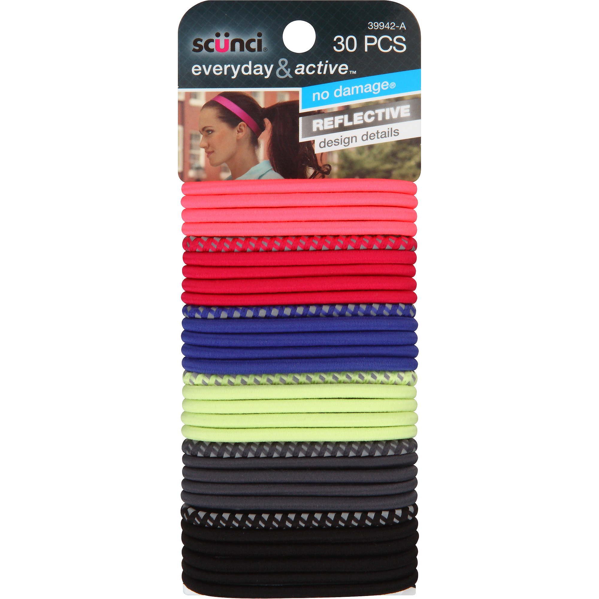 Scunci Everyday & Active Hair Ties, Colors, 30 count