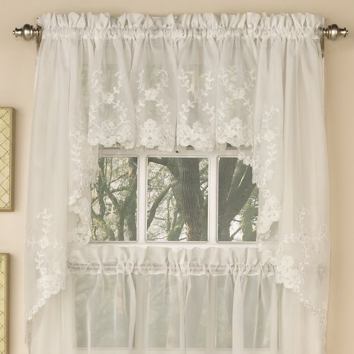 Sweet Home Collection Laurel Nature/Floral Semi-Sheer Rod Pocket Curtain Panels (Set of 2)