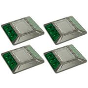4 Pack Green Commercial Aluminum Solar Road Stud Path Dock LED Light w Anchor