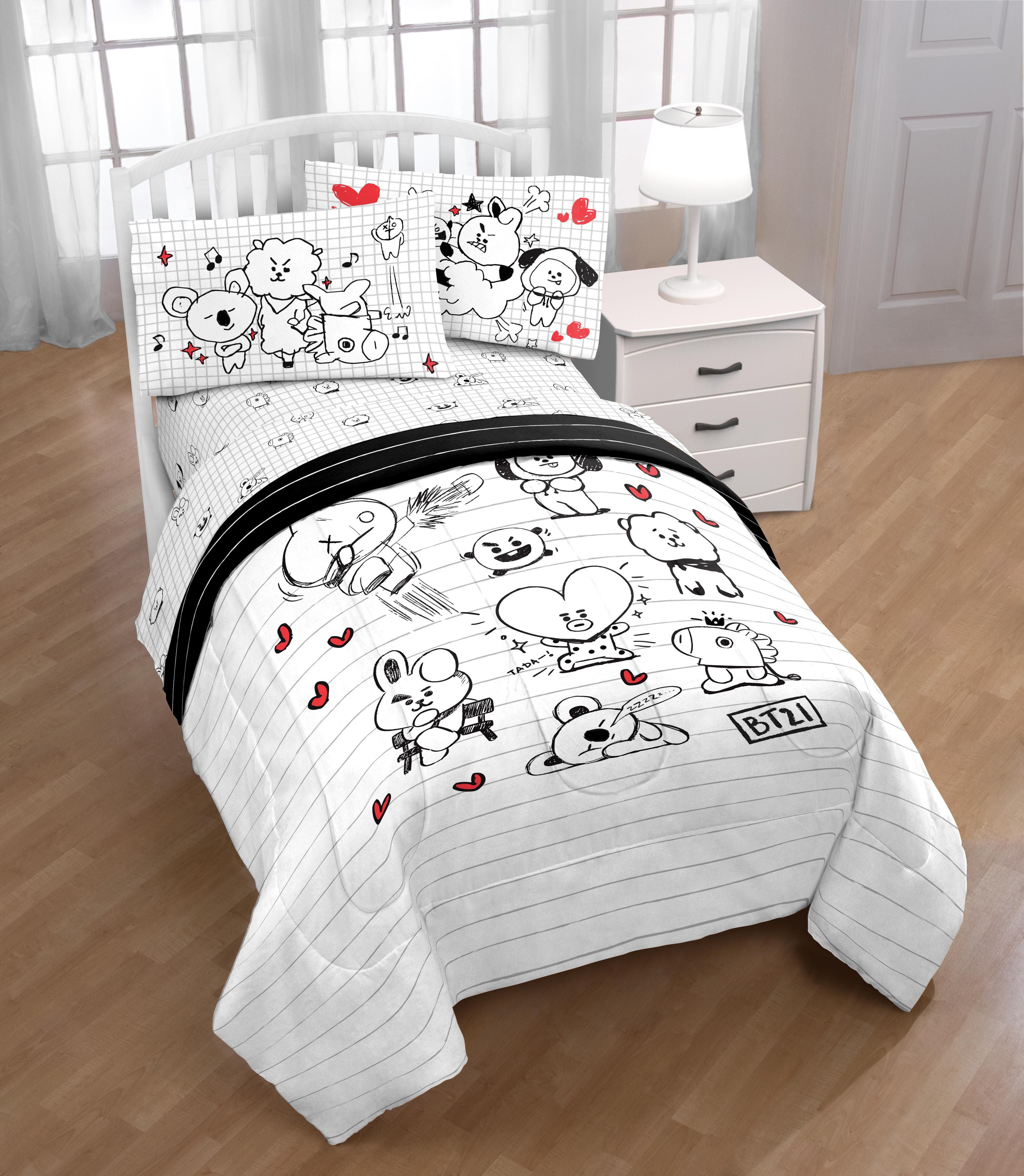 Bt21 Black White Doodle Twin Bed Set Walmart Com Walmart Com
