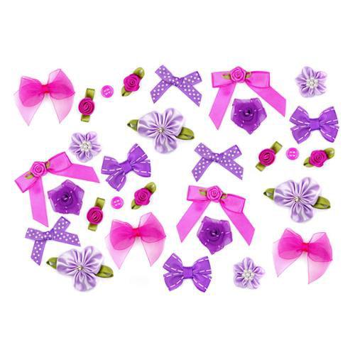 Bundle Monster DIY Craft Assorted Colors Ribbon Bow Rose Flower Button- Set 4